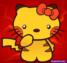 How to Draw Pikachu Hello Kitty, Step by Step
