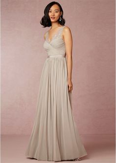 A Line V Neck Appliqued Pleated Chiffon Floor Length Bridesmaid Dresses S10213952BNB