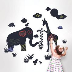 Great idea to use chalk board paint in shapes. Now you really can right on the walls!