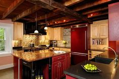 Gold Kitchen Backsplash can add a huge amount of warmth & glow to an otherwise dark kitchen. Copper kitchen backsplash available at http://theceilingtileshop.com/category/ceiling-tile-colors/kitchen-backspash/