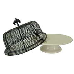 Ceramic Cake Stand with Wire Domed Cover