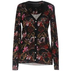 Philipp Plein Cardigan ($310) ❤ liked on Polyvore featuring tops, cardigans, red, floral tops, jersey cardigan, red cotton cardigan, light weight cardigan and floral cardigan