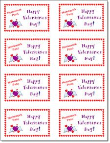 Free Valentine's Day Homework Passes from Laura Candler's Teaching Resources