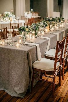 Grey Linen Tablescapes // summer wedding, White centerpieces, fruitwood chiavari chairs, candles, clean, modern,