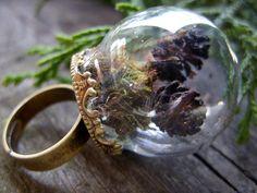 mini terrarium ring miniature terrarium jewelry moss by MageStudio, $50.00
