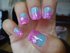 Blue pink ombré gel glitter nails with fimo flower accent