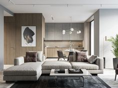 Modern home interiors with neutral decor colours. Featuring beautiful sofas, room divider ideas, modern kitchens, chic dining sets, and modern lighting designs. Decor Interior Design, Interior Design Living Room, Living Room Designs, Living Room Decor, Living Spaces, Dining Room, Dining Table, Küchen Design, Design Case