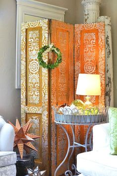Stenciling with metallic paints: Stenciled Screen with Modern Masters Metallic Paint and Metal Effects Rust Finish and elegant lace stencils