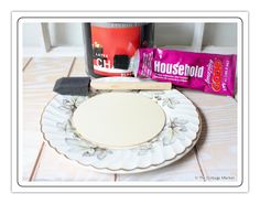 Here's the how-to for a china-plate blackboard, using a wood disk instead of painting right on the plate.