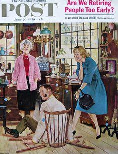 1950s John Falter Art - Broken Antique Chair - Saturday Evening Post June 20, 1959
