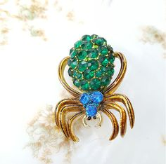 Vintage Rhinestone Spider Brooch Pin Blue Green by TheCitrineBee