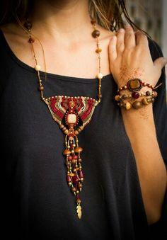 Macrame necklace. Tribal