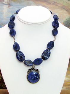Sodalite Pendant Necklace w/matching earrings - O9 by daksdesigns on Etsy