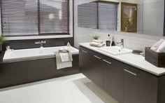 bathroom white floors , dark colours