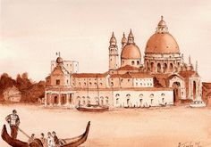 Across the Lagoon Sepia Pen and Wash Pen And Wash, Framed Prints, Canvas Prints, London City, Painting & Drawing, Taj Mahal, Spain, Tapestry, Explore