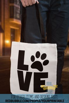 'Love Animals Paw Print' Tote Bag by YourPrintable Cat Lover Gifts, Cat Gifts, Cat Lovers, Frozen Birthday Party, Birthday Gifts, Galentines Day Ideas, Dog Tote Bag, Retro Party, Cards For Friends