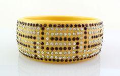 BIG Vintage 1920s 30s ART DECO Geometric BAKELITE & Rhinestones Bangle Bracelet