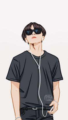 Bts fanart j-hope Bts Manga, Bts Anime, Anime Boys, Fanart Kpop, Hoseok Bts, Jhope Bts, Anime Lindo, Kpop Drawings, Arte Pop