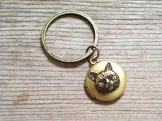 Cat Locket Key Chain Brass Cat Locket Feline Locket by LoveLockets