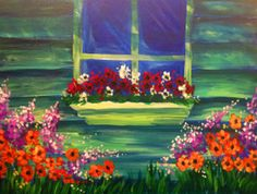 Windowsill Garden, We can't all have a green-thumb, so why not paint your very own window garden that will always be in bloom?