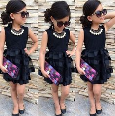 NEW Baby Kids Girls Princess Evening Party Summer Black Striped Tulle Dress 2~8Y #Unbranded #Everyday