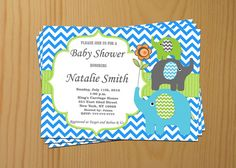 Baby Shower Invitation Elephant Baby Shower by diymyparty on Etsy, $10.00