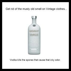 How to get rid of old musty smell on vintage clothing:  Fill a spray bottle with equal parts vanilla vodka and water, then generously mist on clothing and let air dry. Vodka kills the spores that cause that icky odor.