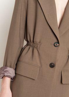 Dark Taupe Elastic Waist Blazer – The Frankie Shop