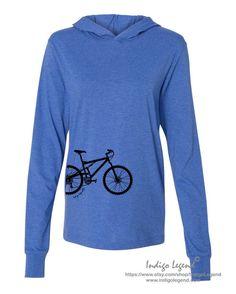Mountain bike hoodie, unisex adults.  Mountain bike graphic custom printed on a heather royal blue hoodie. Bike shirt for men and women.