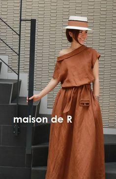 160センチ前後の方向け着画(リネンワンピース・モカ) の画像|maison de R Safari Chic, Cozy Fashion, Linen Dresses, Pattern Fashion, Textile Design, Beautiful Dresses, Boho Chic, Fashion Dresses, One Piece