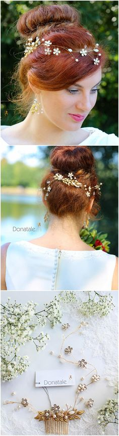 ON SALE Bridal HeadpieceLeaf Bridal Hair comb Gold flower
