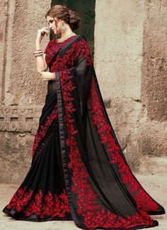 Check Out Myntra Luxury Embroidered Chiffon Saree Collection Replica at Master Replica Pakistan Call/WhatsApp: Chiffon Saree, Georgette Sarees, Georgette Fabric, Silk Sarees, Latest Indian Saree, Indian Sarees, Latest Sarees, Indian Dresses, Indian Outfits