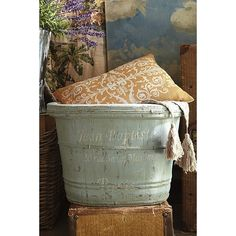 Mougins Wooden Barrel from Soft Surroundings on shop.CatalogSpree.com, your personal digital mall.