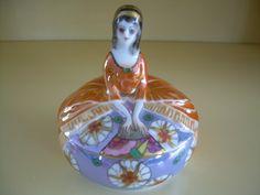 RARE Noritake Half Doll Powder Jar Puff Box Art Deco Orange Blue Lustre | eBay