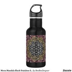 Shop Moon Mandala Black Stainless Steel Water Bottle created by BeeBeeDeigner. Best Water Bottle, Water Bottle Design, Water Bottles, Drink Bottles, Black Stainless Steel, Stainless Steel Water Bottle, Moon Mandala, Drink More Water, Stay Hydrated