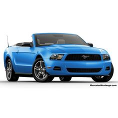 2011 Ford Mustang V6 - 2011 Mustang V6 Grabber Blue Convertible - Ford... ❤ liked on Polyvore featuring cars, transportation and vehicle
