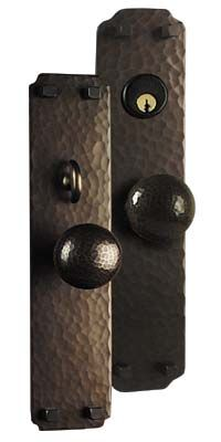 arts and crafts greene and greene style hand crafted hand hammered copper knob to knob entry set