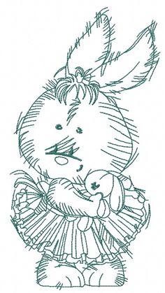 Bunny the ballerina 2 machine embroidery design. Machine embroidery design. www.embroideres.com