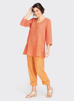 Sunshine Flax for Soft, refreshing, breathable womens linen for Summer Flax Clothing, How To Hem Pants, Orange Fashion, Color Shapes, Rolled Hem, Needle And Thread, How To Make, How To Wear, Tunic Tops