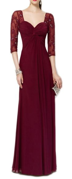 A Line Half Sleeves Floor Length Lace Chiffon Long Mother of the Bride Dresses Burgundy Formal Gown 17128 Custom Order #macloth #prom #prom2017 #promdress #promgown #gown #dress #eveninggown #eveningdress