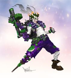 "Here is my awesome ""Joker"" skin for Junkrat [Overwatch]!!"