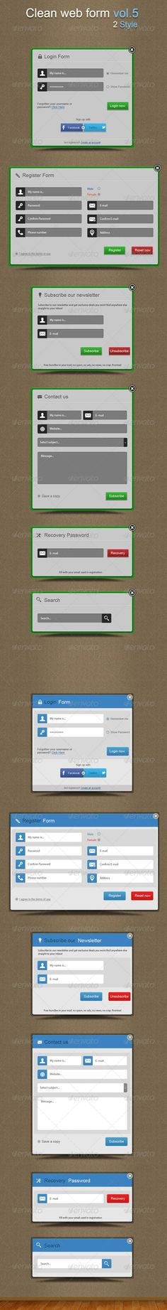 Clean web forms vol.5 by Doony Easy to modify vector shapes Well organized Layer Easy to change color and forms Font used: Arial Help File included in main file