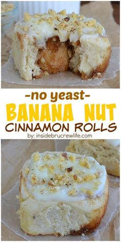 Banana Nut Cinnamon Rolls - these easy homemade rolls are made with banana, cinnamon, and walnuts. Great breakfast recipe to use up brown bananas!