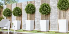 gartendesign ideen Clad in a glossy white paint, the Llio Small Planter in White is the perfect pot to showcase your favorite flowers and house plants. Place on an Clad in a glossy Back Gardens, Small Gardens, Outdoor Gardens, Back Garden Landscaping, Backyard Garden Design, Stone Landscaping, Modern Garden Design, Landscape Design, Garden Wall Designs