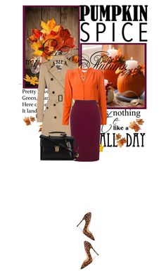 """Pumpkin Spice Style"" by fashionbrownies ❤ liked on Polyvore featuring Christian Louboutin, Burberry, STELLA McCARTNEY, Roland Mouret, Yves Saint Laurent and Alexis Bittar"