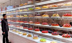 a cake shop in Japan's Diamond City Mall has walls made out of cake. Wow-this is so beautiful.
