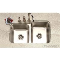 """Houzer EC-3208SR-1 Elite Elite Series 31-1/2"""" x 20-3/16"""" undermount 60/40 double bowl kitchen sink with small bowl on right and strainer Sta..."""