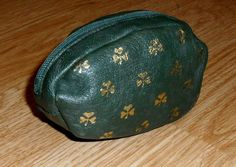 Gold Shamrock Green Leather Pouch Zip Over Change Purse