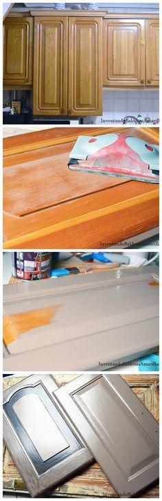 Cómo cambiar de color los muebles de tu cocina. El paso a paso en: http://inventandobaldosasamarillas.es/pintar-o-no-pintar-la-cocina-de-mama/