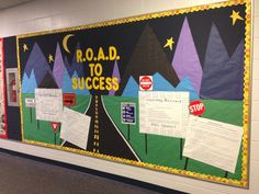 "Bulletin Board: R.O.A.D. to Success - This is an acronym our school uses- Respect your peers, Own your education, Address adults appropriately and Demonstrate safe behavior.. bulletin board showcases our behavior tracking system- ""Driving Record"" and ""Road Blocks"" - see other pins"